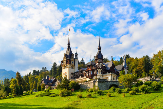 Peles castle Sinaia, Transylvania, Romania protected by Unesco World Heritage Site