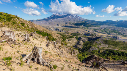 Amazing views of the volcano. White clouds are hovering over the large crater. Loowit Viewpoint, Mount St Helens National Park, West Part, South Cascades in Washington State, USA