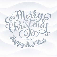 Merry Christmas hand lettering inscription on detailed snowing background