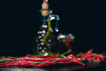Olive oil, tomato and chilli pepper