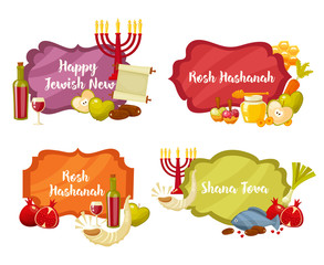Rosh Hashanah, Shana Tova or Jewish New year cartoon flat vector frames and lables set . Cartoon flat style vector illustration