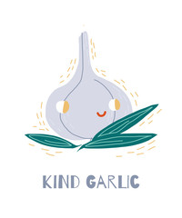 Character garlic with kind face.