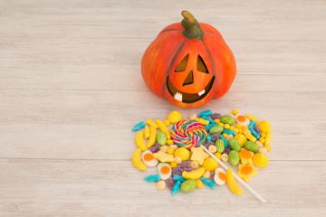 Orange pumpkin halloween and baubles.