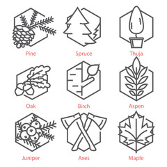 Vector thin line icons set with trees for nature and ecology infographics and UX UI kit
