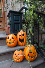 Halloween Scary Carved Pumpkins on Brooklyn Townhouse Stoop