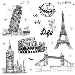 Hand drawn Europe architecture. Sketch art. Doodle symbol: Pisa, Eiffel, Colosseum, Big Ben, Tower Bridge. Set of the famous European monuments. Drawing collection travel design. Vector illustration.