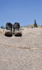 Hiking shoes taking a break