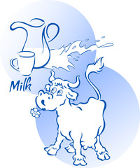 Funny cow with a jug and cup of milk, in cartoon style, on separate layers.