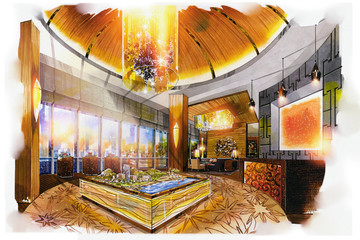 sketch perspective interior reception office into a watercolor on paper.