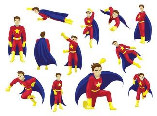 Superhero Man Poses Cartoon Emotion faces Vector Illustration