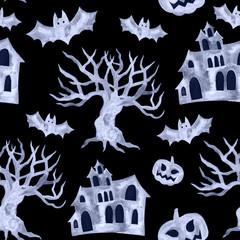 Halloween seamless pattern with halloween pumpkin, bat.