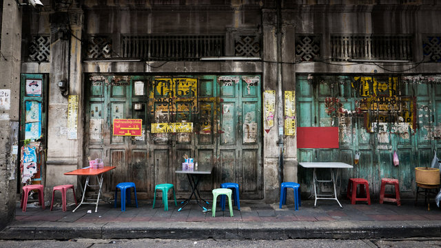 Classic door in Yaowarat road,Bangkok capital city,Thailand.