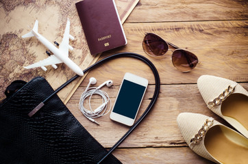 Travel accessories costumes. Passports, smart phone, accessories prepared for the trip