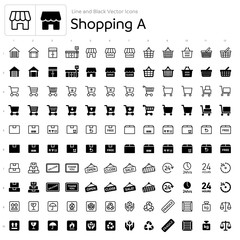 Line and Black Vector Icons - Shopping A