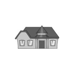 Large single storey house icon in black monochrome style isolated on white background. Building symbol vector illustration