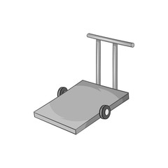 Hand truck icon in black monochrome style isolated on white background. Transport symbol vector illustration