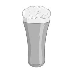 Glass of beer icon in black monochrome style isolated on white background. Dishes and drink symbol vector illustration