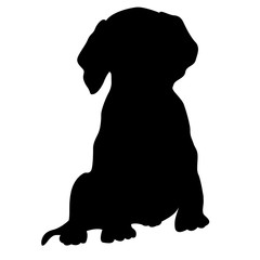 puppy vector illustration isolated  front side black silhouette