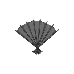 Fan icon in black monochrome style isolated on white background. Accessories symbol vector illustration