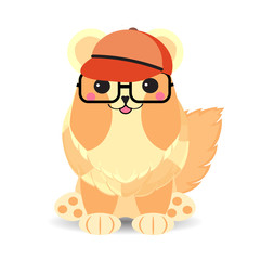 Cute nerdy dog wears glasses and softball cap suitable for sticker and clip art