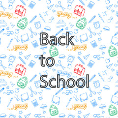 Back to school and accessories on a background