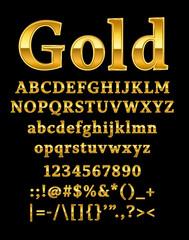 3d illustration of shine gold letter on black background