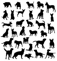 Dog Collection Silhouettes, Pet Animal, art vector design,easy to use for the logo, mascot, stickers, web element, icons and the like