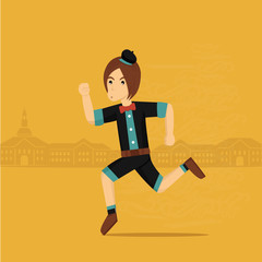 Funny Cartoon Guy with Running pose and Background