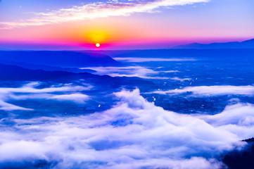 Poster Donkerblauw 雲の波