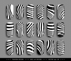 Nail art design black and white. A set overhead nail, labels, stickers, elements for design. Ideas for manicure, pedicure, beauty salons, modeling agencies. Fashion trends. Vector illustration EPS 10