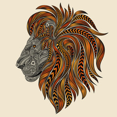 Vector lion patterns with a fiery red mane
