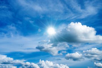 bule sky clouds and sun