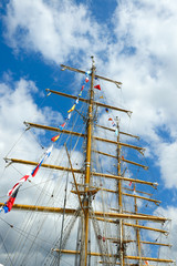Tall ships masts with flags