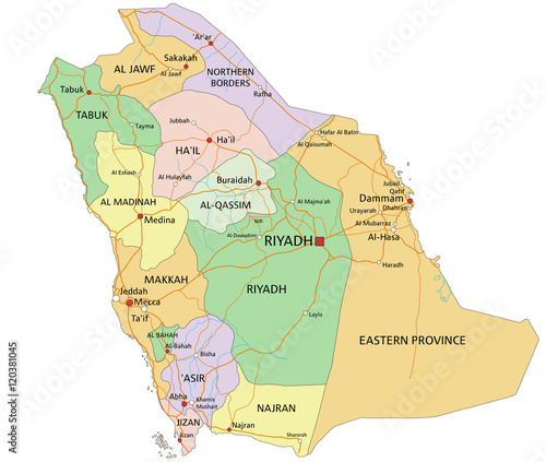 Saudi Arabia Highly Detailed Editable Political Map With Labeling