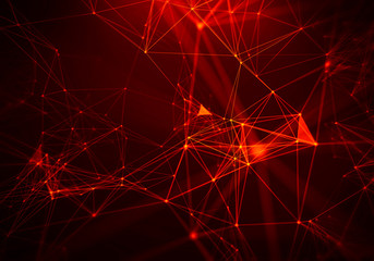 Abstract Fire red Geometrical Background ..Futuristic technology style. Neon Sign . HUD Element . Elegant . Big data visualization .
