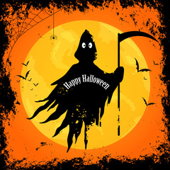 Vector Illustration of a Happy Halloween Design with Scary Grim Reaper and Full Moon