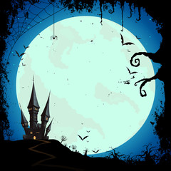 Vector Illustration of a Happy Halloween Design with Full Moon and a Scary Castle