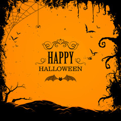 Vector Illustration of a Happy Halloween Design with Full Moon