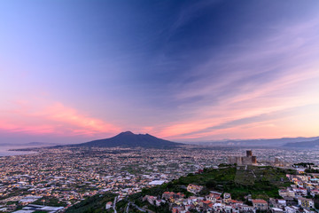 Panorama of Naples and Mount Vesuvius in, Italy. View of Mount V