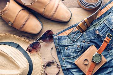 accessories for men on the wooden floor