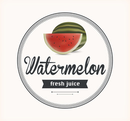 watermelon juice. Detailed Vector label.