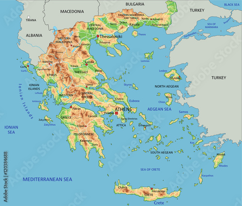 High detailed Greece physical map with labeling.\