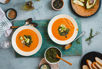 Sweet potatoes and butternut squash cream soup bowls. top view.
