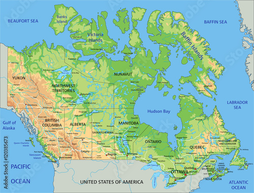 High Detailed Canada Physical Map With Labeling Stock Image And - World physical map labeled