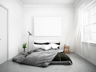 mock up blank poster on the wall of bedroom, 3D bedroom interior, hipster apartment