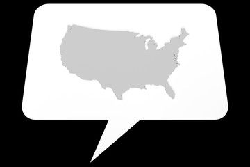 Speech Bubble: 3d Illustration of USA Map On A White Background