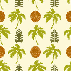 Seamless pattern with palm trees, coconuts