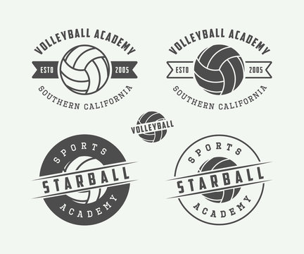 Set of vintage volleyball labels, emblems and logo.