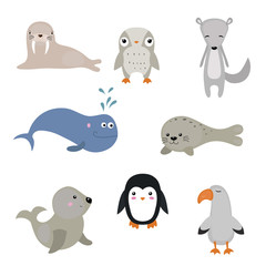 Vector set of different arctic animals