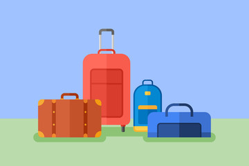 Baggage flat style horizontal banner. Travel bag, suitcase, luggage case, backpack. Vector illustration.